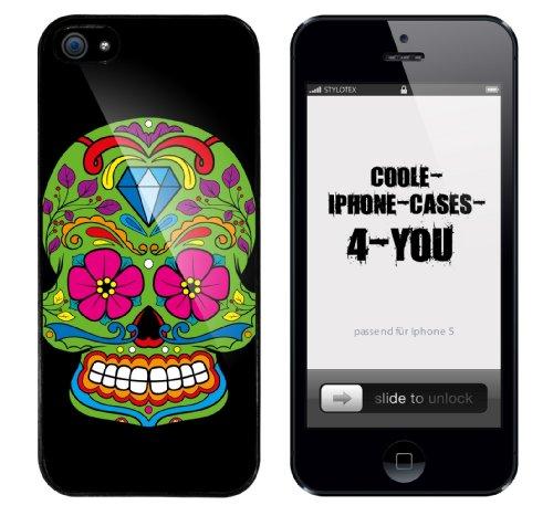 Iphone 5 Case Flower Skull Rahmen schwarz