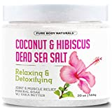 Dead Sea Bath Salts with Coconut and Hibiscus, Relaxing Mineral Bath Salts for Sore Muscles by Pure Body Naturals, 20 Oz