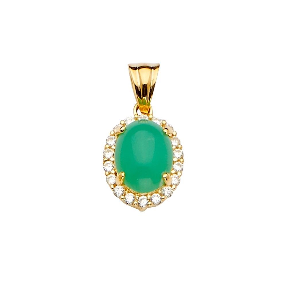 Size : 20 x 11 mm GoldenMine 14k Yellow Gold Jade Pendant