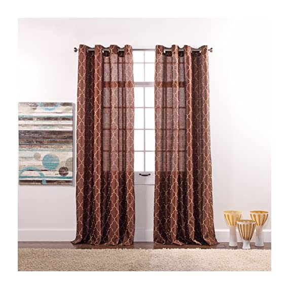 Stylemaster Hudson 55 by 84-Inch Embroidered Faux Silk Silver Grommet Panel, Espresso - 4 attractive colors: espresso, spa, turquoise, vanilla Easy care machine wash cold and line dry Imported from china - living-room-soft-furnishings, living-room, draperies-curtains-shades - 517nXqRrw6L. SS570  -