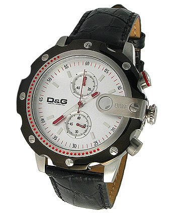 Dolce & Gabbana Sean Men's Leather Chronograph Watch, Black (DW0366)