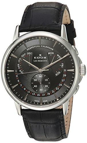 Edox Men's 'Les Bemonts' Swiss Quartz Stainless Steel and Leather Dress Watch, Color:Black (Model: 01602 3 NIN)