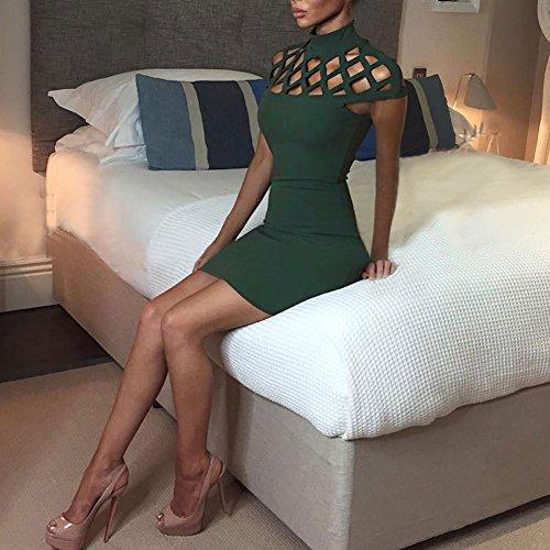 Broadroot donne benda Bodycon Slim party cocktail matita mini vestito (verde) (XL)