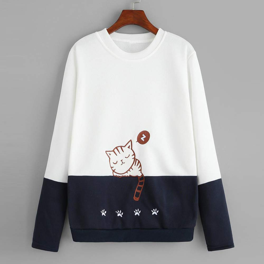Meikosks Womens Casual Patchwork Tops Cat Embroidery Blouse Long Sleeve Sweatshirts Pullover