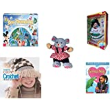 """Girl's Gift Bundle - Ages 6-12 [5 Piece] - World of Disney Eye Found It Board Game - Brass Key Celebrating """"Mexico"""" Porcelain Doll 10"""" - Play-By-Play Red Flower Patterned Girl Mouse Plush 11"""" - Fami"""