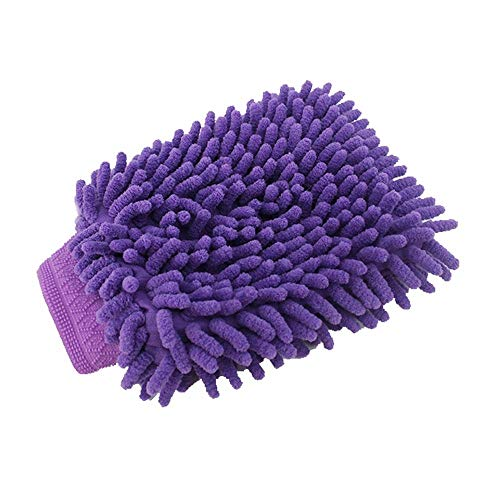 Car Wash Mitt, XINDELL Large Waterproof Car Wash Cleaning Mitt Sponge Gloves Microfiber Wool Bear Lambswool Bug Stick Chemical Guys Scratchless Extension (Purple)