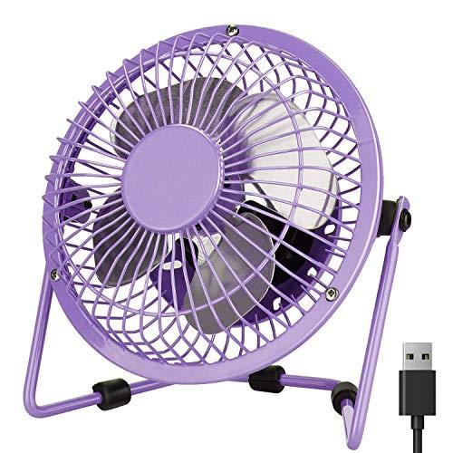 Mini Desk Fan, PEYOU 4'' Mini USB Portable Fan-3.6 ft USB Cable-Personal Metal Table Fan Powered by Computer,Laptop,Power Bank Fan-360° Adjustable Operation Fan for Office,Home,Traveling(Purple)