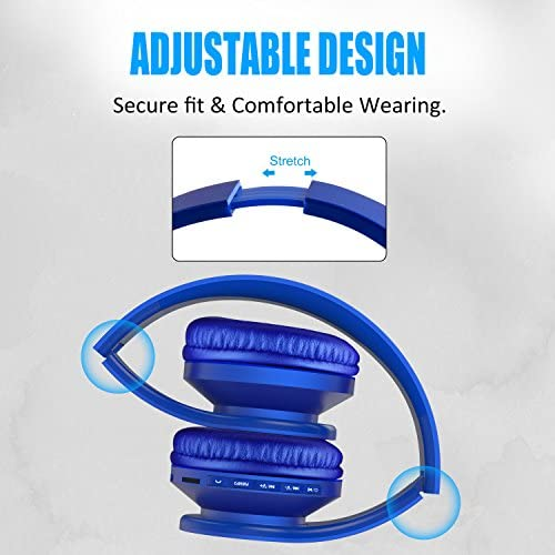 LOBKIN Bluetooth Headphones Over Ear, Stereo Wireless Headset with Microphone, Foldable Wireless and Wired Headphones with TF Card MP3 Mode and FM Radio for iPhone Samsung iPad PC