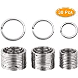 30 Pieces Flat Key Rings Metal Keychain Rings Split Rings Flat for Home Car Quality Keyring