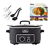 Ninja 3-in-1 6 Quart Slow Cooker Cooking System + 150 Recipe Book + Utensil Kit