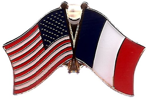 Double Lapel Pin - Pack of 3 France & US Crossed Double Flag Lapel Pins, French & American Friendship Pin Badge