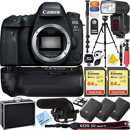 (Canon EOS 6D Mark II 26.2MP Full-Frame Digital SLR Camera (Body Only) Pro Memory Triple Battery & Grip SLR Video Recording Bundle - Newly Released 2018 Beach Camera )