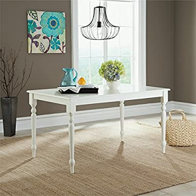 Sauder 416564 White Finish Cottage Road Dining Table - Durable, wood composite top Solid wood legs White finish. - kitchen-dining-room-furniture, kitchen-dining-room, kitchen-dining-room-tables - 517nZLUaqPL. SS400  -