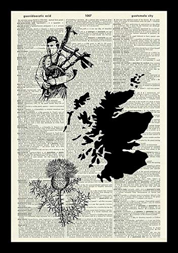 128 buyloii Scottish Art Print-Scotland Art Print-Bagpipes Art Print-Scotsman Art Print-Thistle Art Print-Vintage Art-Illustration-Vintage Dictionary Art Print-Book Print-Wall Art 14x11 inches