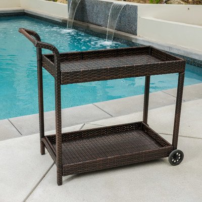 Wicker Finish (Brayden Studio Bar Cart, Patio Serving Cart, Made of Metal and Resin Wicker, Plastic Counter Top, Multibrown Finish, BRSD1569)