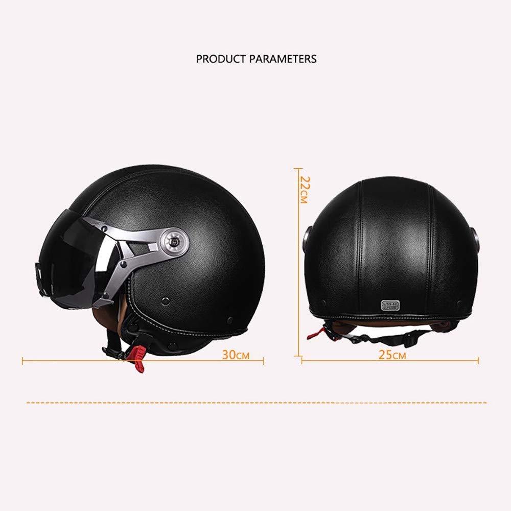 SKINGOHelmet Moto Jet Casque Casque Femme Scooter Ouvert Hommes 3//4 Retro Open Face Casque Compris Le Pare-Soleil