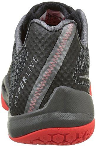 Nike Mænds Hyperlive Basketball Sko Sort / Mørkegrå / Lyse Blodrød / Metallisk Sølv m20X5A