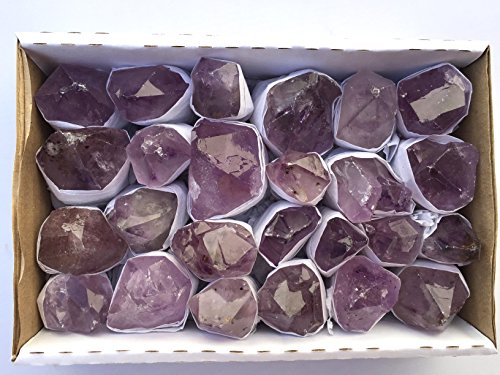 JIC Gem 20-25 Pcs 2.2 Lbs Natural Light Color Amethyst Point in box for Collection, Jewelry Making & Wire wrapping (Amethyst Box Jewelry)
