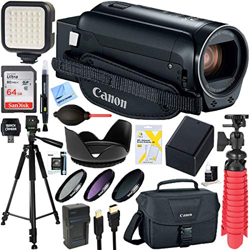 Canon VIXIA HF R82 Camcorder 3.8MP Full HD CMOS, 57x Advanced Zoom (Black) + 64GB SDXC Memory Card & Accessory Bundle
