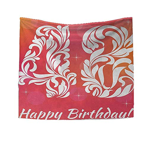 (RuppertTextile 48th Birthday Tapestry Wall Tapestry Retro Victorian Styled Typography with Swirl Numbers Design Print Art Wall Decor 39W x 39L Inch Red Scarlet White)