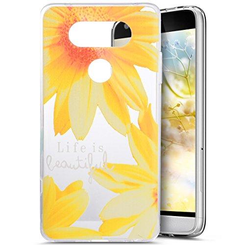 PHEZEN LG V20 Case,LG V20 TPU Case [Crystal Clear], Pretty Sunflower Design Slim Fit Soft Gel Clear Transparent TPU Bumper Rubber Protective Case for LG V20-Sunflower