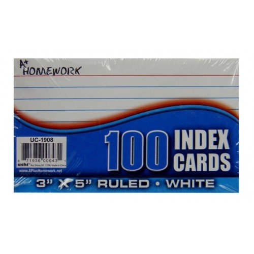 100 3 x 5 inches Ruled White Index Cards, Case of 48 by DollarItemDirect