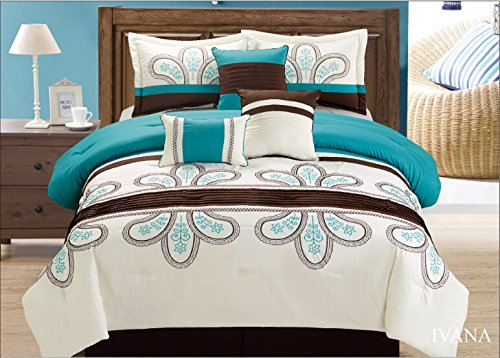 Fancy Linen 7 Pc Embroidery Off White Turquoise Brown Comforter Set Queen Size Ivana New