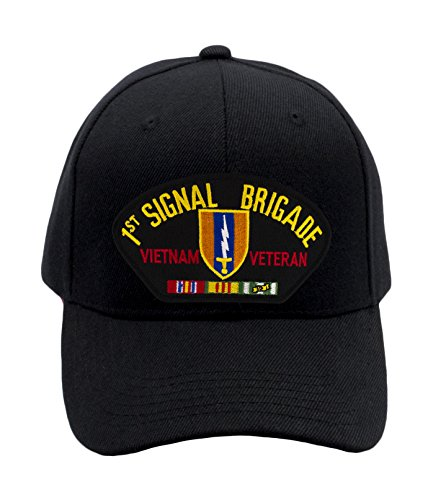 Patchtown 1st Signal Brigade - Vietnam War Veteran Hat/Ballcap Adjustable One Size Fits Most (Black, Standard (No Flag))