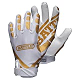 Battle Ultra Stick Adult White/Gold Gloves, Large