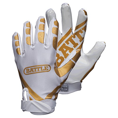 Battle Ultra-Stick Football Gloves - Ultra-Tack Sticky Palm Receivers Gloves - Pro-Style Receiver Gloves, Adult