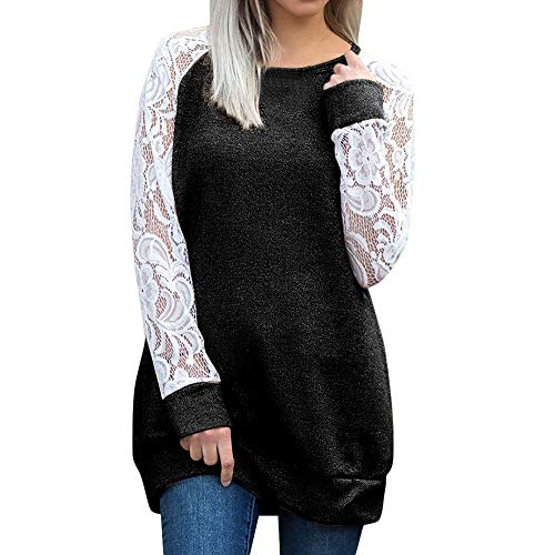 (Mnyycxen Fashion Womens Casual Lace Long Sleeve Pullover Crop O-Neck T-Shirt Blouse Tops)