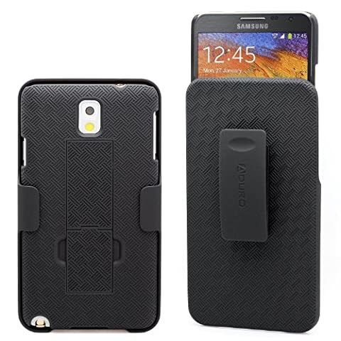 Galaxy Note 3 Case, Aduro COMBO Shell & Holster Case Super Slim Shell Case w/ Built-In Kickstand + Swivel Belt Clip Holster for Samsung Galaxy Note 3 (Retail (Galaxy Note 3 Phone Case Black)