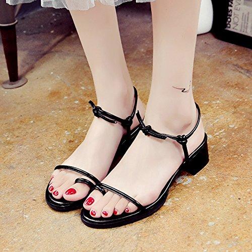 RUGAI-UE Sandalias de verano estudiantes vendaje Toe zapatos simple Black