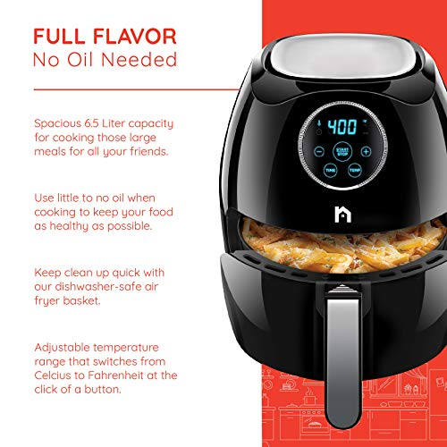 New House Kitchen Digital 6.5 Liter Air Fryer w/Flat Basket Oil-Free Touch Screen AirFryer, Dishwasher-Safe Parts, Fast Healthier Food, 60 Min Timer & Auto Shut Off, Extra Large Family Size, Black by New House Kitchen (Image #1)