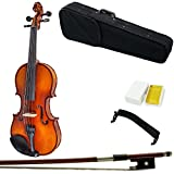 Paititi 16'' Size Upgrade Solid Wood Ebony Fitted Viola With Case Bow, Shoulder Rest and Rosin (16'')