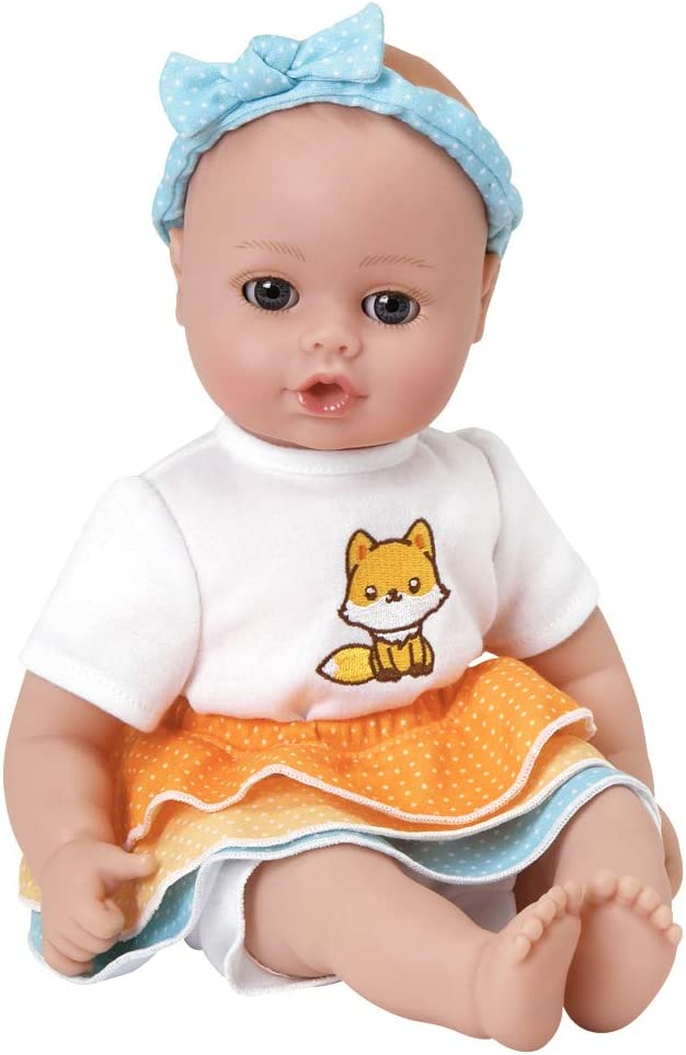 Adora Playtime Frilly Fox 13 inch Baby Doll with Embroidered Fox Frill Dress, Bow Headband and Bottle