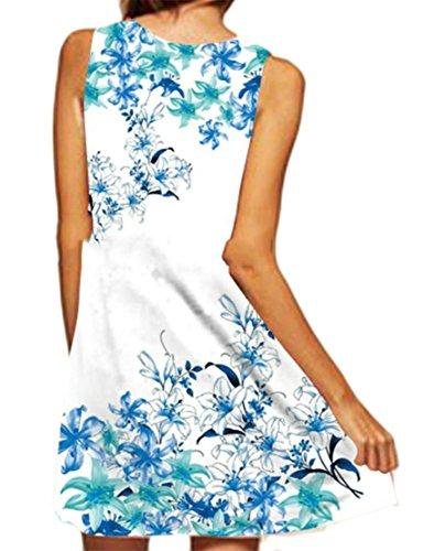 Casual Dresses Print Crewneck White Womens Pleated Sleeveless Cruiize Swing 50qEvC