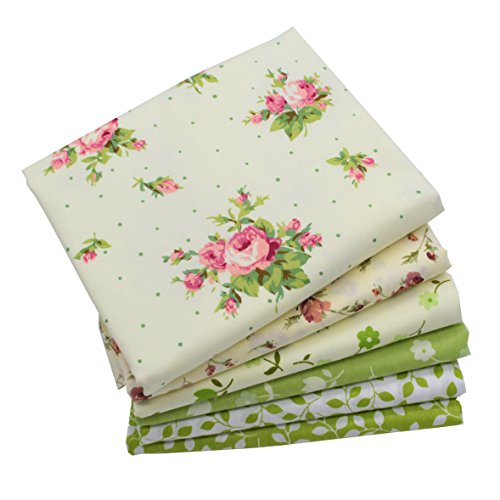 Calico Quilting Fabric - iNee Green Floral Fat Quarters Quilting Fabric Bundles, Sewing Fabric for Quilting Craftting,18 x 22 inches (Green Floral)