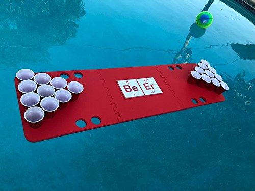 Red Beeriodic Foam Beer Pong Table - 6ft, Foam, All Weather, Portable - Floats Anywhere by Floating Pong