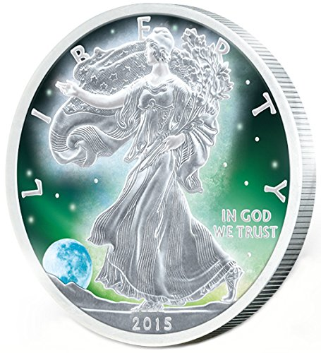 2015 United States Frozen WALKING LIBERTY Aurora Rhodium 1 Oz Silver Coin 1$ US Mint 2015 BU Brilliant Uncirculated (Platinum Case Collector)