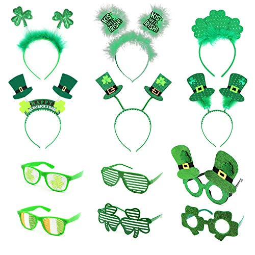 Saint Patrick's Day Parade Hat and Costume Accessories with Shamrocks, 4/5/12 pcs Set for Irish Day Saint Paddy's Day (Eye 6 Pieces + hat 6 Pieces)]()