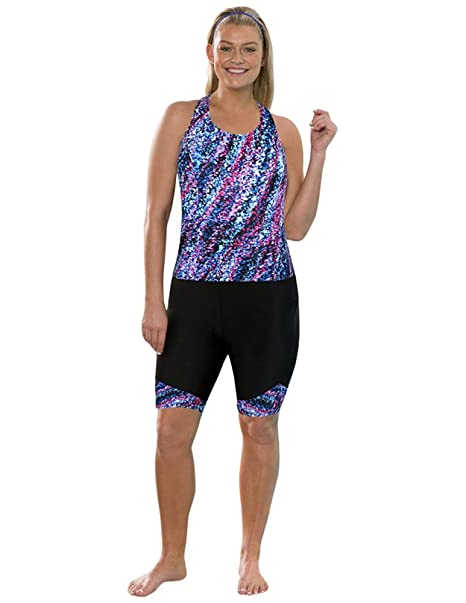 692ef9af2a AquaBelle Women's Plus Size Chlorine Resistant Riptide Long Bike Shortini  24 Multi