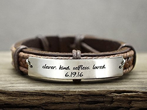 Leather Inspirational Bracelets for Teen Girls Boys, Student Motivatoinal Words Quote Engraved on Stainless Steel Tag, Custom High School College Graduation (Achieve Stackable)