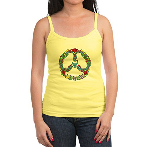Royal Lion Jr. Spaghetti Tank Pop Art Peace Symbol Flowers Stars - Lemon, Medium