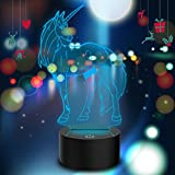 Novelty Unicorn 3D Illusion Lamp Led Night Light with 7 Colors Flashing & Touch Switch USB Powered Bedroom Desk Lamp for Kids Gifts Home Decoration