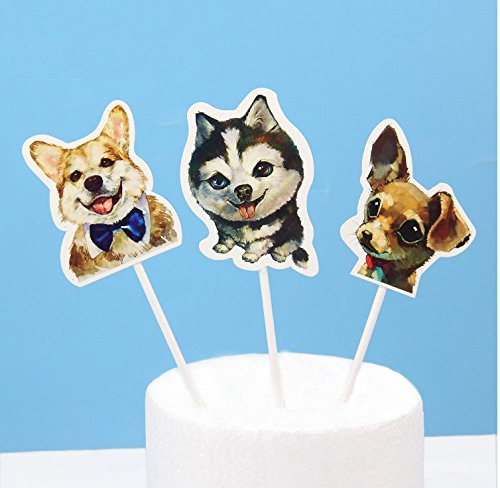 Gourmet Dog Cake - Astra Gourmet 24pcs Cute Dog Puppy Cupcake Toppers, Dog Party Decorations, Pet Cupcake Topper for Wedding Birthday Baby Shower Party Decorations(THREE STYLE)