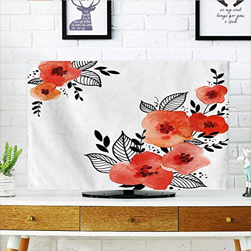 (Auraisehome Television Protector Scarlet Colored Poppies Flowers with Black Sketchy Leaves Art Print Red and Black Television Protector W36 x H60 INCH/TV 65