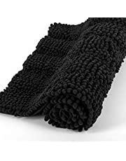 """Ultra Soft Chenille Microfiber Bath Mat Rug, Super Thick and Absorbent, Non Slip Shaggy Plush Floor Rugs for Bathroom, Kitchen, Entry and Laundry Room, Machine Washable, (Black, 17""""x24"""")"""