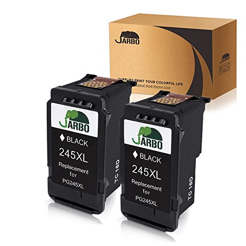 JARBO Remanufactured Canon PG-245XL Ink Cartridges, 2 Black, Shows Accurate Ink Level, Used in Canon PIXMA MG2520 MG2920 MG2922 MG2924 MG2420 MG2522 MG2525 MG3020 MG2555 MX490 MX492 Printer by JARBO