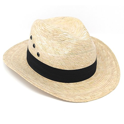 MWS Spanish Gaucho, Mexican Palm Leaf Straw Short Brim Cowboy Hat (Light Straw) ()